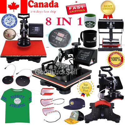8 in1 Heat Press Machine Digital T-Shirt Mug Hat Plate Cap Transfer Sublimation