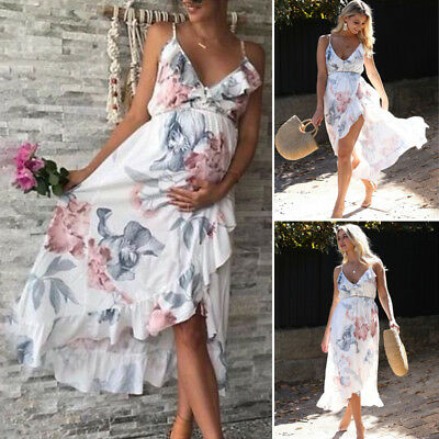 Women Maternity Dress Floral Summer Casual Strap V-neck Pregnant Dress AU Canis