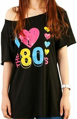 AU Women Adult I Love the 80's Top T-Shirt 1980s Party Girls Fancy Dress Costume