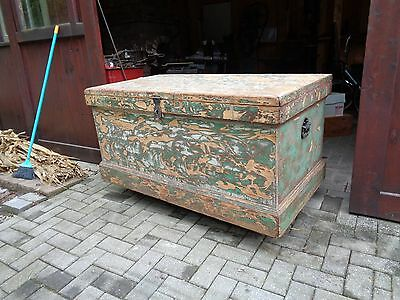Vintage Wood Giant Tool Box or Horse Tack Box, Industrial Coffee Table