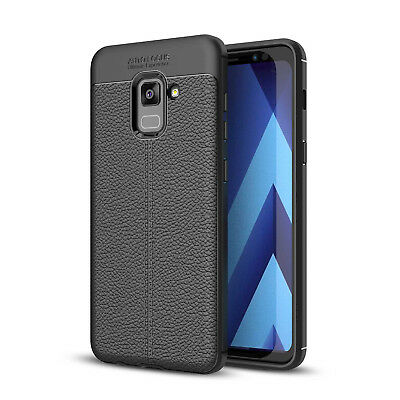 Bakeey Anti Fingerprint Soft TPU Litchi Leather Case for Samsung Galaxy A8 Plus