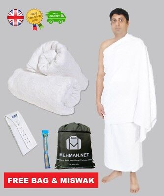 Men's Towel Ihram Ahram Ehram Clothing Waist Belt Free Bag & Miswak Umrah Hajj