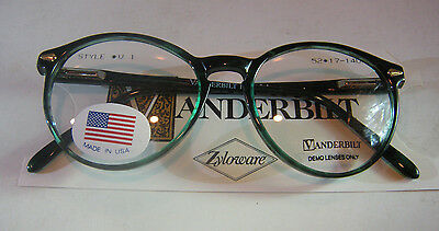 Vintage Vanderbilt 1 Demi Green 52/17 Spear Shield USA P3 Eyeglass Frame NOS
