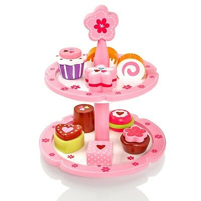 Childrens/Kids Wooden Cakes & Stand Pretend Play-Food Playset Tea-Set Party Toy