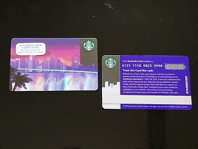 MIAMI FLORIDA Skyline and Bridge series 6125 Starbucks City State Gift Card  USA