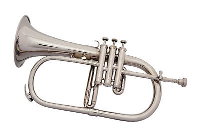 Flugel Horn Buy:new 3 Valve Chrome Bb-F Pitch W/case+Mp Best Sound