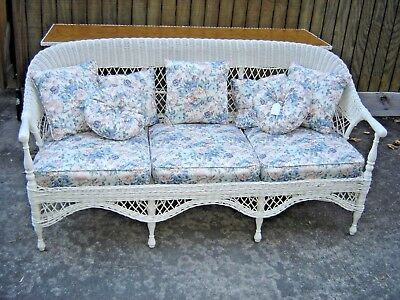 Antique Wicker Sofa with 3 Upholstered Cushions, with 7 Matching Pillows 8913A