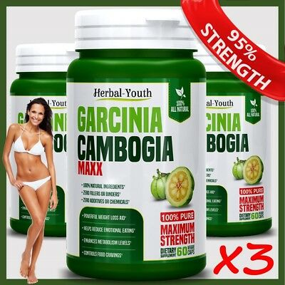 3 BOTTLES GARCINIA CAMBOGIA 180 Capsules 3000mg Daily Lose Weight Loss Diet Pill