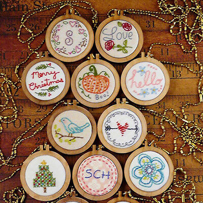 DIY Round Mini Wooden Cross Stitch Embroidery Hoop Ring Frame Machine Fixed TK
