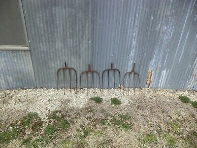 Old Vtg Antique Metal Hay Pitch Fork Head Farm Garden Tool Prong Lot Of 3