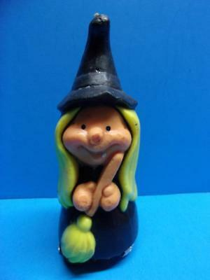 Vintage Halloween Witch w Broom Candle Unburned Wizard Air Freshener  1980's