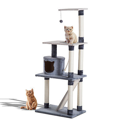 "58"" Multi-Level Cat Tree Kitty Scratcher Condo Furniture w/ Toy"