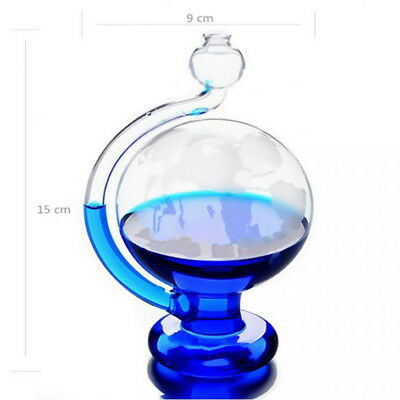 Ambient Weather Etched Globe Storm Glass Barometer Drip Cup Blue/Red Pigment