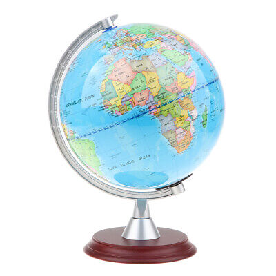 20cm Wooden Base Blue Ocean Earth Map Globe on Swivel Stand Home Decor Toys