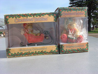 Two Cherished Teddies Christmas Ornaments