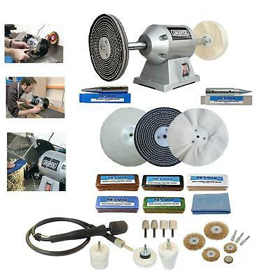"6"" Bench Grinder 250W Bench Polisher With 6"" Deluxe Metal Polishing Kit Machine"