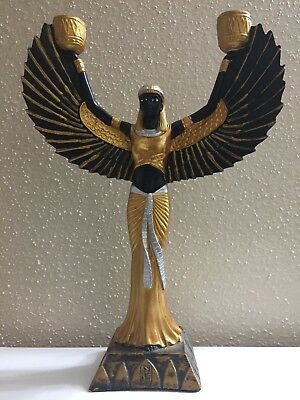 Large Gold carved Ancient Egyptian Statue Winged Goddess Isis for Protection