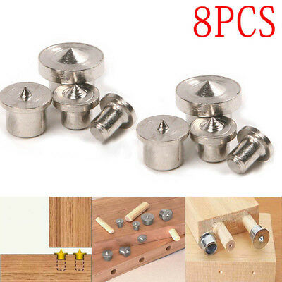 8PCS Centre Point Dowel Holes Wood Pins Clamp Steel Tools for 6 8 10 12mm Set