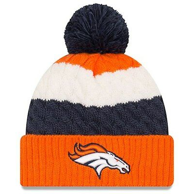 e65be8433d3 Denver Broncos New Era Girls Youth Layered Up Cuffed Knit Hat with Pom -  Orange