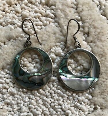 Alpaca Mexico Silver And Mother Of Pearl Hoop Earrings