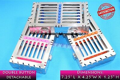 German Premium Detachable Sterilizing Cassette Tray For 7 Instruments Lot Of 3
