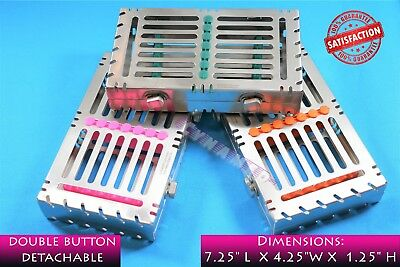 3 Premium Detachable Sterilizing Cassettes For 7 Instruments Medical Dental Vet