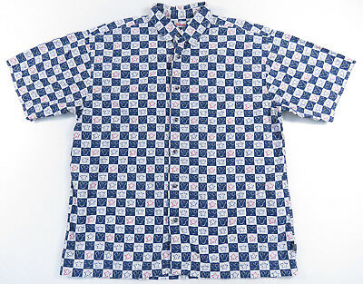 2cde0187 Disney Store Mickey Mouse Checker Plaid Star All Over Print Button Up Shirt