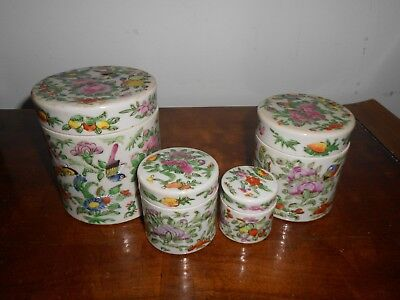 Antique Chinese Famille Rose Tea Caddy Set