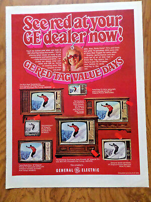 1969 GE General Electric TV Television Ad Shows 7 Models  Skiing Theme