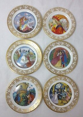 Lot 6 FRANKLIN Porcelain Mini Plates Best Loved Fairy Tales Sign Limited Ed Mint