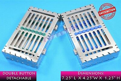 Lot Of 2 German Sterilization Cassette Tray Rack Box Detachable With Buttons