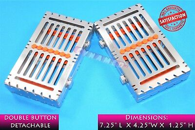2Pcs Sterilization Trays For 7 Instruments Detachable Premium German With Button