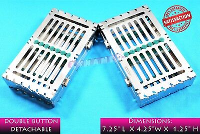 SET OF 2pcs GERMAN DENTAL SURGICAL STERILIZATION CASSETTE FOR 7 INSTRUMENTS