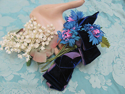 LOT-2* VTG 1950s *LILY of the VALLEY CORSAGE FLOWERS & BLUE DAHLIA HAIR FLOWERS*
