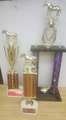 Lot of 3 Vintage Horse Riding Show Trophies 1990's