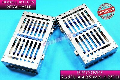 2 Blue German Sterilization Racks For 7 Instruments Detachable With 2 Buttons