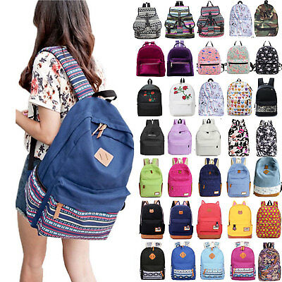 Womens Girls Canvas School Backpack Shoulder Bag Travel Rucksack College Satchel