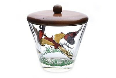 Vintage Pheasant Glass Ice Bucket w/ Wood Lid #1 Gold Trim
