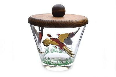Vintage Pheasant Glass Ice Bucket w/ Wood Lid #2 Gold Trim