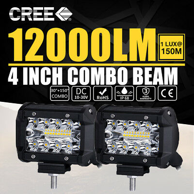 2x 4inch CREE LED Work Light Bar Spot Flood OffRoad Driving Reverse 4x4 Ford SUV