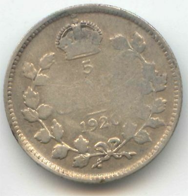 Canada 1920 Five Cent Canadian Silver Nickel - 5c EXACT COIN SHOWN