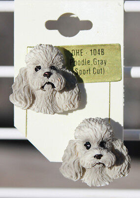 Poodle Gray 3-D post earrings NEW