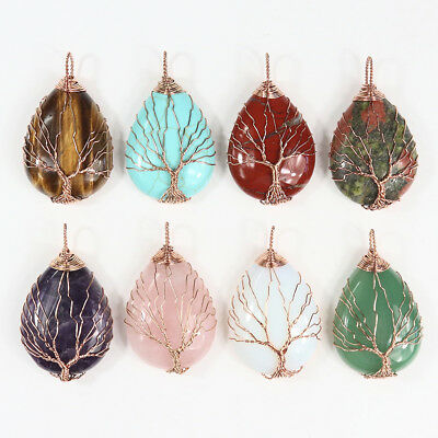 Natural Gemstones Teardrop Rose Gold Wire Tree of Life Reiki Chakra Pendant