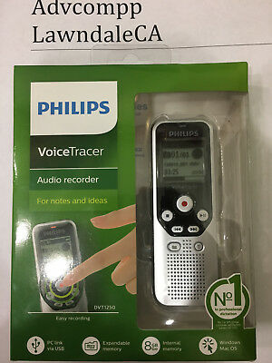 Philips - VoiceTracer Digital Audio Recorder - Dark Silver & Black 8gb dvt1250