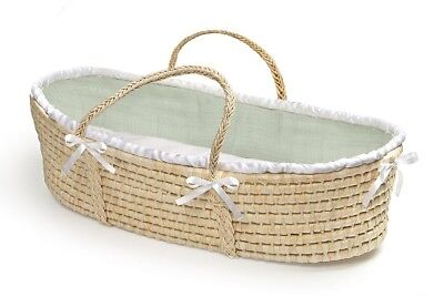Natural Baby Infant Moses Basket Sage Waffle Bedding NEW