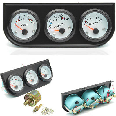 Universal 52Mm/2'' Oil Pressure Water Voltage Volt Triple Gauge 3 Gauges Panel