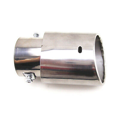 1Pcs  Stainless Steel Car Rear Round Exhaust Pipe Tail Muffler Tip  Chrome 145mm