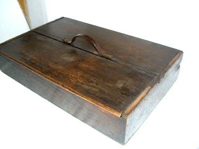 Late 19Th Century Oak Two Division Cutlery Box - Felt Lined