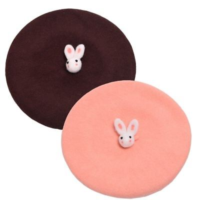 Girls Lovely Rabbit Plain Beret Cute Hat Headwear Spring Gift Beanie