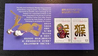 2016 Christmas Island Stamps - Year of the Monkey - Minisheet - MNH